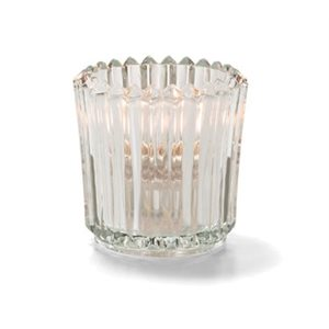 GLASS RIBBED CLEAR CANDLE HOLDER