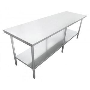 "S / S WORK TABLE 24""x84"" W / GALVANIZED UNDERSHELF AND LEGS"
