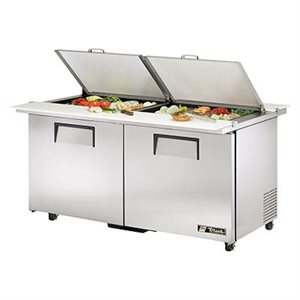 "TRUE SALAD UNIT 60"" 110V S / S DOORS, 24 PANS"